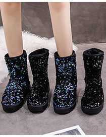 Fashion Black Sequined Mid-tube Platform Non-slip And Fleece Snow Boots