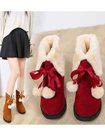 Fashion Red Plus Velvet Thick Flat Thick Heel Bow Snow Boots