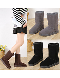 Fashion Black Round Toe Flat Heel High-top Mid-tube Snow Boots