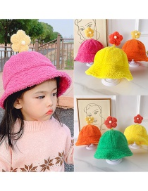Fashion Flower Hat Orange Red 2-6 Years Old One Size Subject To Actual Head Circumference Lamb Hair Flower Children Hat