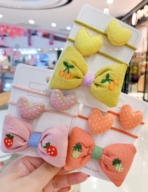 Fashion Pink Bow [3 Piece Set] Bowknot Love Fabric Alloy Childrens Hair Rope Hairpin