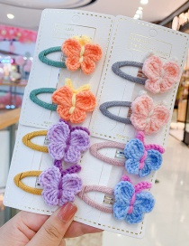Fashion 1 Pair Of Orange Butterfly Hair Clips Butterfly Wool Knitted Alloy Childrens Hairpin Hair Rope