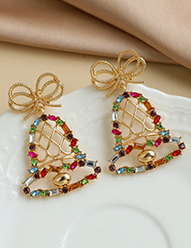 Fashion Color Alloy Diamond Hollow Bell Stud Earrings