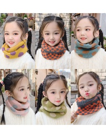 Fashion Dot Models [korean Blue] Reference Age 1-10 Years Old Polka Dot Lattice Thick Knitted Wool Scarf