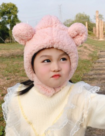 Fashion Pink Hat Reference Age 2 Years -6 Years Old Childrens Plush Hat With Bear Ears