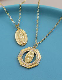 Fashion Gold Color Bronze And Zircon Madonna Necklace