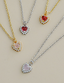 Fashion Gold Red Copper Inlaid Zircon Heart Necklace