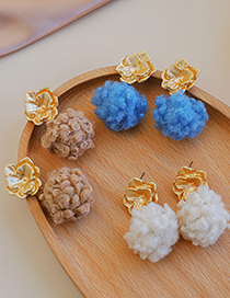 Fashion Creamy-white Alloy Flower Plush Earrings