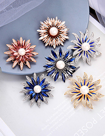 Fashion Rose Red Sunflower Pearl And Diamond Alloy Brooch