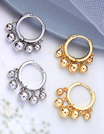 Fashion Champagne Gold Color Round Bead Pendant Alloy Geometric Earrings