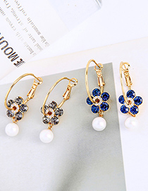 Fashion Royal Blue Flower Pearl Diamond Round Alloy Earrings