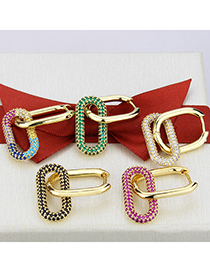 Fashion Gold-plated Zirconium Gold-plated Copper Rectangular Earrings With Zircon