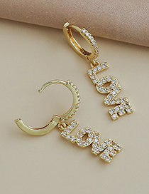 Fashion Gold Color Copper Inlaid Zircon Letter Love Earrings