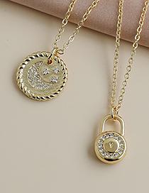 Fashion Gold Color Copper Inlaid Zircon Crescent Necklace