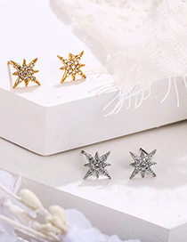 Fashion Gold Color Diamond And Star Alloy Earrings