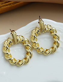 Fashion Golden Alloy Twisted Hollow Round Earrings