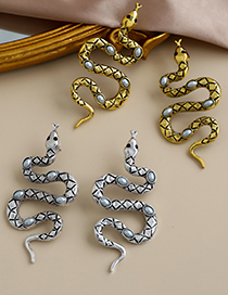 Fashion Golden Alloy Pearl Snake Earrings