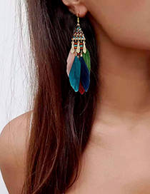 Fashion Yellow Triangle Feather Long Tassel Alloy Earrings