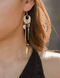 Fashion White Alloy Feather Tassel Long Earrings