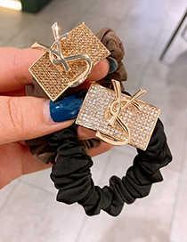 Fashion Black Full Diamond Letter Buckle Block Alloy Elastic Hair Rope