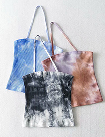 Fashion Coffee Purple Tie-dye Halterneck Slanting Vest Top