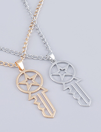 Fashion Golden Bump Textured Alloy Star Key Pendant Necklace