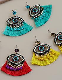 Fashion Lake Green Alloy Diamond Eye Tassel Stud Earrings