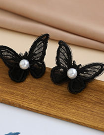Fashion Black Fabric Lace Pearl Butterfly Earrings
