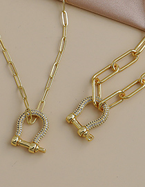 Fashion Gold Color Copper Inlaid Zircon Geometric Thick Chain Necklace