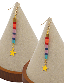 Fashion Mixed Color A Striped Long Geometric Beaded Five-pointed Star Earrings