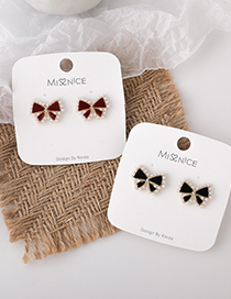 Fashion Red Flocking Bow Small Pearl Earrings