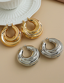 Fashion Gold Color Alloy Geometric Shape Hollow Round Earrings
