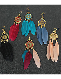 Fashion Red Feather Alloy Hollow Round Earrings
