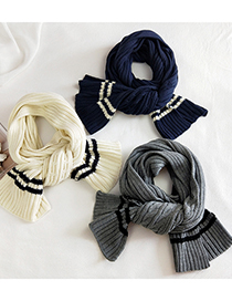 Fashion Striped Two-color Chain Rice Striped Two-tone Wool Knitted Scarf