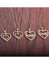 Fashion 40cm Hip Hop Chain + Box Chain Love Heart Inlaid With Diamonds And Gold-plated Copper Hollow Multilayer Necklace