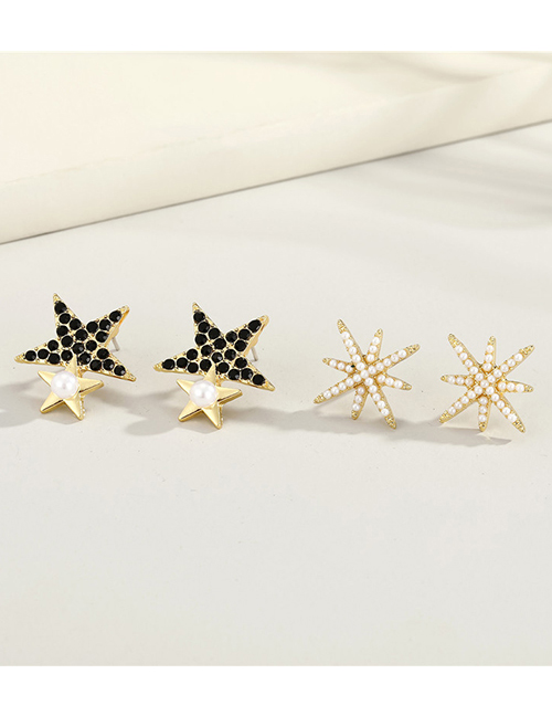 Fashion Star Alloy Diamond Five-pointed Star Earrings