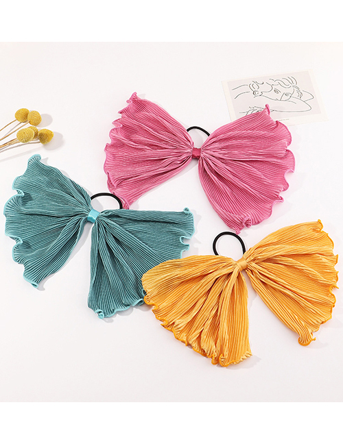 Fashion Pink Bowknot Pleated Solid Color Streamer Hair Rope