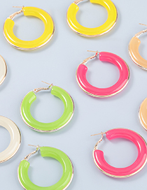 Fashion White Round Acetate Plate Alloy Earrings