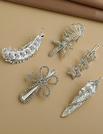 Fashion Silver Alloy Diamond Five-pointed Star Feather Shell Flower Hair Clip Set