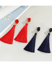 Fashion Red Tassel Round Resin Alloy Earrings