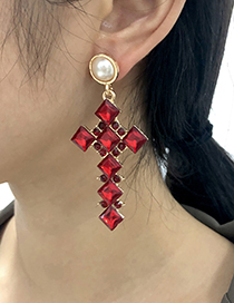Fashion Red Alloy Diamond Cross Earrings