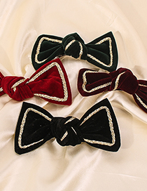 Fashion Black Alloy Fabric Bow Hairpin