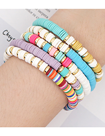Fashion Color Mixing Soft Ceramic 6m Stainless Steel Color-preserving Spacer Elastic Bracelet