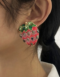 Fashion Rose Red Alloy Pearl Strawberry Stud Earrings