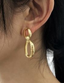 Fashion Golden Alloy Ring Ear Studs