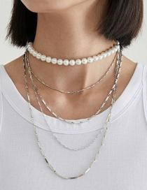 Fashion White K Alloy Pearl Chain Necklace