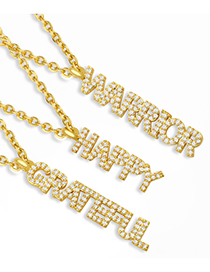 Fashion Happy Letter Pendant Micro Inlaid Zircon Copper Gold Plated Necklace