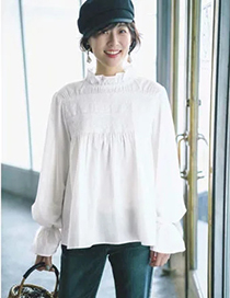 Fashion White Small High Neck Pleated Loose Shirt With Wooden Ears