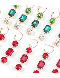 Fashion Red Alloy Diamond Round Square Multilayer Earrings