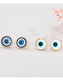 Fashion White Eyes Dripping Eyes Round Alloy Earrings